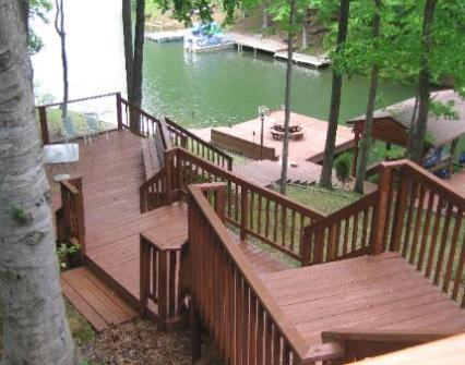 View of our dock and decks at Childs Cove Lake Anna Virginia